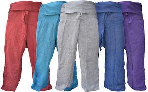 Plain Cotton Thai Fisherman Pants Lounge Loose Casual Yoga Hippie Boho Trousers