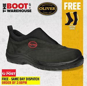 Oliver Work Boots 34610. Steel Toe Safety. Black Slip-On Sports Shoe. BRAND NEW!