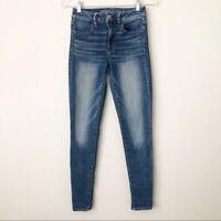 AEO Hi-Rise Jegging Super Stretch X Jeans Size 2 Medium Blue Faded EUC!