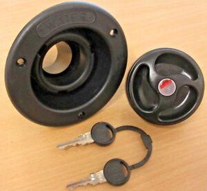 Black 40mm Water Tank Filler with Cap & 2 Keys -   Caravan / Motorhome - ES2100