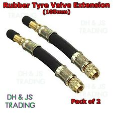 2x Flexible Rubber Tyre Valve Extension 105mm - Twin Wheel Lorry Van Bus Adapter