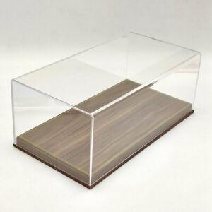 High-End 1/18 Acrylic Case Display Box Transparent Dustproof Wood Grain Leather