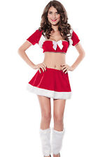 Women's Christmas Flirty Santa Fancy Dress Costume with Hood & Fur Boot Covers