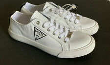 NEW! GUESS WOMEN'S CAUGHT BLACK LOGO WHITE LEATHER SNEAKERS SHOES 6.5 36.5 SALE