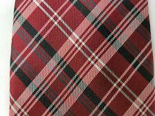 Chaps Mens Red Plaid 100% Silk Necktie Tie EUC