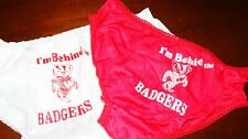 Vintage Wisc Badgers home and away panties sz 6 1 pr red 1 pr white nylon