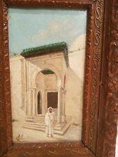 Ancienne peinture sur bois orientaliste début XX ème s monogrammée à déchiffrer