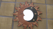 Hand Carved Hand Painted Wooden Sunburst Mirror Hanging