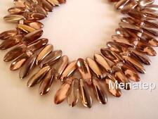 25 5 x 16 mm Czech Glass Dagger Beads: Apollo Gold