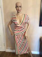 MISSONI DRESS Knitted  Fitted Stripe Size 40 Uk 8 -10 100% Rayon Designer Women