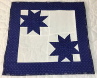 Patchwork Quilt Table Topper or Wall Hanging, Star Design, Royal Blue, Dots