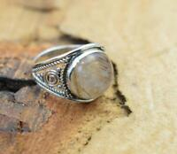Golden Rutile 925 Sterling Silver Gemstone Jewelry, Round Shape Ring Size US- 8/