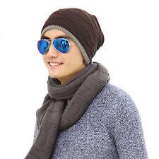 coffee  Men Crochet Knit Plicate Baggy Beanie Wool Hat Skull Winter Warm Cap