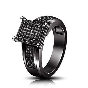 1.50 CT Black Diamond 925 Silver Beautiful Engagement Wedding Ring Sz 5-11