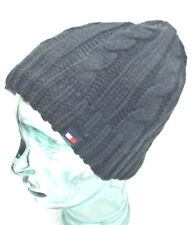 TOMMY HILFIGER Men's Beanie Hat Fleece Lining*Black~Charcoal *One Size Fit New