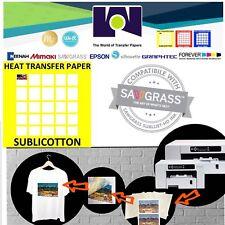 """SUBLICOTTON HEAT TRANSFER PAPER  50 Sh 8.5""""X11"""" Sublimation paper for Cotton #1"""