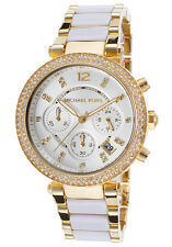 Michael Kors Women's MK6119 Parker Watch With White Acetate and Gold Bracelet