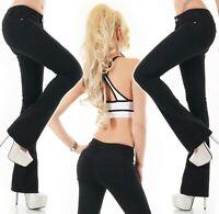 Mujer Boot-Cut Vaqueros Recortado Black Denim Stretch Push Up XS S M L XL