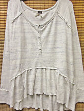 NEW UNIQUE We the FREE PEOPLE Henley Peplum Thermal Long Sleeve Top Size LARGE