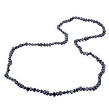 """Long Pearl Necklace Black Cultured Freshwater Baroque Pearls 48"""" Opera Length"""