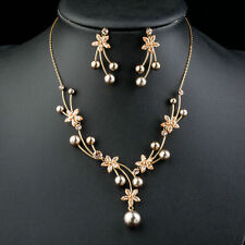 Peach Pearl CZ Flower Set Mock Pearl Pendant Necklace Earrings Jewelry Sets