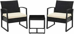 Black 3-Piece Patio Set Outdoor Patio Furniture Sets Outdoor Seating for Bistro