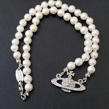 Vivienne Westwood Mini bajorrelieve Gargantilla Collar De Perlas Con Plata Orb