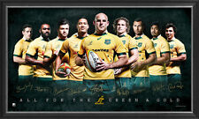 AUSTRALIA WALLABIES 2015 WORLD CUP FACSIMILE OFFICIAL RUGBY SIGNED PRINT FRAMED