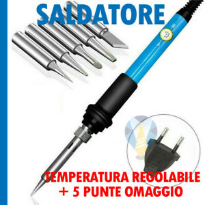 SALDATORE A STAGNO TEMPERATURA REGOLABILE 60W + KIT PUNTE OMAGGIO