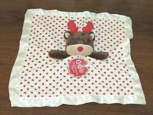 Nwt Cocalo Reindeer Polka Dot Christmas Red Beige Deer Security Blanket Lovey