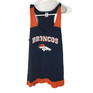Denver Broncos NFL Team Apparel Womens Sleepwear Tank Top & Shorts Navy Blue XL