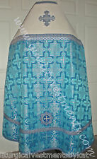 Russian Orthodox Priest vestment Metallic Brocade Russian style Blue Silver Whit