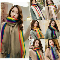 RAINBOW WOMENS GIRL SCARVES SHAWL MULTICOLOURED TASSEL LONG KNITTED SCARF GIFT