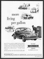"1958 Morris '1000' 2-door Sedan art ""More Living Per Gallon"" vintage print ad"