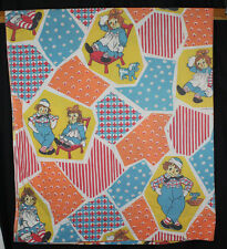 Vtg Raggedy Ann & Andy Sheets Twin Flat Bright Colors Fabric Patchwork 1980s
