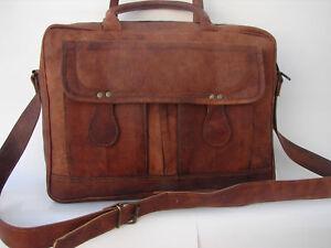 Men's Genuine Vintage Leather Messenger Laptop Briefcase Satchel Big Bag Brown