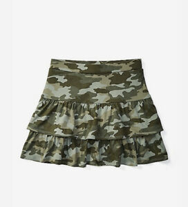Justice Girl's Size 8 Tiered Ruffle Skirt in Army Green New with Tags