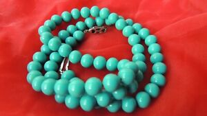 Gorgeous 9mm Turquoise Glass Sterling Silver Bead Necklace