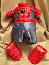 """Vintage Build a Bear The Bear Mill 4 Piece Red Spiderman Outfit 12"""" Costume"""