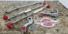 Chrome Steering Linkage RED Kit 58-64 Impala