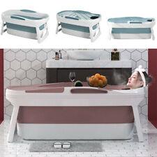 More details for mobile bathtub folding bath tub barrel sweat steaming tank with lid blue/pink uk
