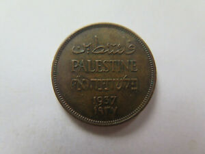 1937 PALESTINE ISRAEL 1 MIL COPPER COIN in EXCELLENT COLLECTABLE CONDITION