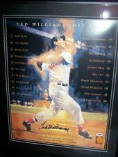 TED WILLIAMS SIGNED AUTO HIT LIST 16X20 FRAMED  PSA/DNA CERTIFED