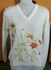 Vintage Cyn Les Shirlee Tiger Lilly Sweater Small Vneck Knit Embroidered Floral