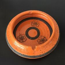 Vintage Bitossi Signed Ashtray Italy Orange Pottery Kitsch flowers Excellent