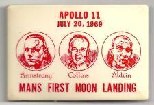 Rectangular APOLLO 11 Pin Man's First Landing ~ Armstrong Collins Aldrin 1969