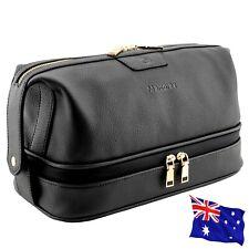 Toiletry Bag for Men or Women,Black, Premium Leather Dopp Kit Makeup Case Travel