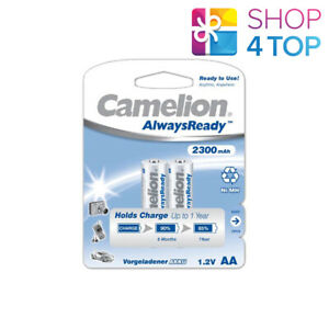 2 CAMELION AA RECHARGEABLE BATTERIES ALWAYS READY HR6 2300MAH 1.2V 2BL NIMH NEW