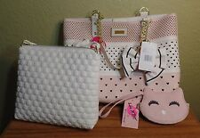 NEW LUV BETSEY JOHNSON Blush White BAG-Pouch & CAT COIN Clutch PURSE SET-Tote