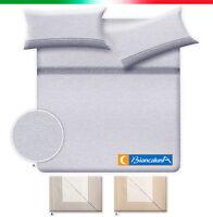 Completo lenzuola federe copriletto matrimoniale BIANCALUNA maculato 100% COTONE